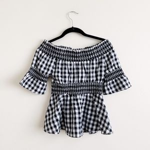 Urban Outfitters Black White Gingham Blouse